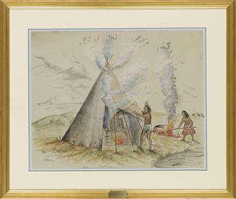 (AMERICAN INDIANS.) Wilson, J.J.; artist. Group of 7 early watercolor interpretations of classic Catlin illustrations.