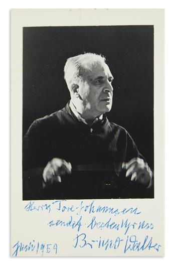 WALTER, BRUNO. Photograph Signed and Inscribed, Mr. Tore Johannsen / sending best regards, in German,