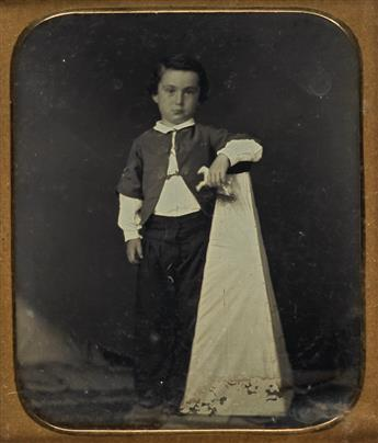 (CHILDREN) Group of 5 sixth-plate daguerreotypes in which kids are depicted