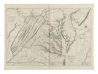 ROUGE, GEORGES LOUIS le. Virginie, Maryland en 2 feuilles par Fry et Jefferson ... A Paris chez le rouge...1777.