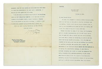 RIGHTS OF IMMIGRANTS, DEMISE OF PROGRESSIVE PARTY, ETC. WILLIAM HOWARD TAFT. Group of 4 Typed Letters Signed,...