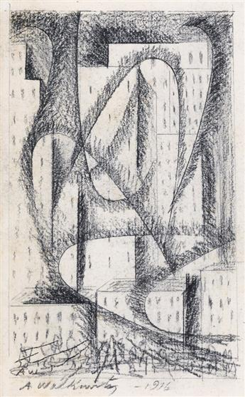 ABRAHAM WALKOWITZ Two abstract drawings.