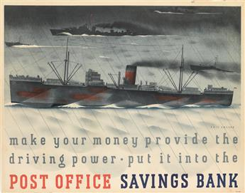 ERIC FRASER (1902-1983). MAKE YOUR MONEY PROVIDE THE DRIVING POWER - PUT IT INTO THE POST OFFICE SAVINGS BANK. 1943. 28x36 inches, 72x9