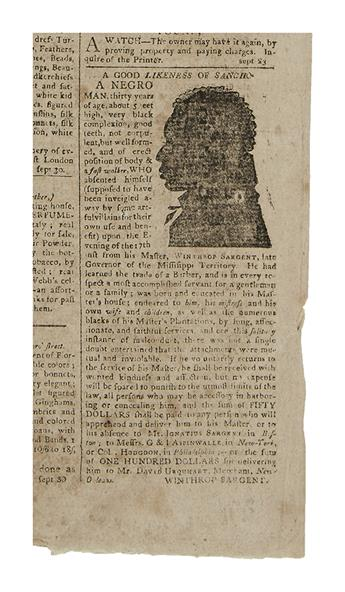 (SLAVERY AND ABOLITION.) Runaway slave advertisement illustrated with A Good Likeness of Sancho,