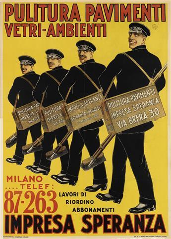 DESIGNER UNKNOWN. PULITURA PAVIMENTI / IMPRESA SPERANZA. Circa 1920s. 54x39 inches, 138x99 cm. Gen. Affissioni F. Pubblicita, Milan.