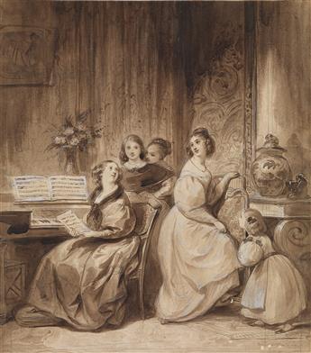 ACHILLE DEVÉRIA (Paris 1800-1857 Paris) Women at the Piano in a Parisian Salon.