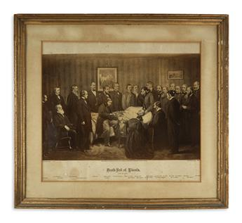 (PRINTS--ASSASSINATION.) Group of 3 framed prints of the Lincoln assassination.