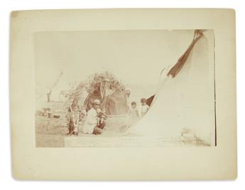 (AMERICAN INDIANS.) Arnold & Barnard; photographers. Group of 3 larger-format views of Indians in Montana.