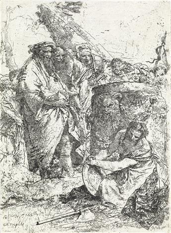 GIOVANNI B. TIEPOLO Donna seminuda in ginocchio davanti a maghi e figure.
