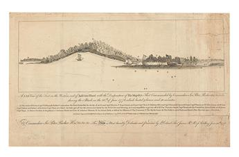 (AMERICAN REVOLUTION--1776.) A N.bE. View of the Fort on the Western End of Sulivans Island with the Disposition of His Majestys Fleet