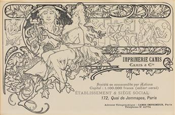 ALPHONSE MUCHA (1860-1939). IMPRIMERIE CAMIS. Circa 1897. 4x7 inches, 12x18 cm. Camis, Paris.