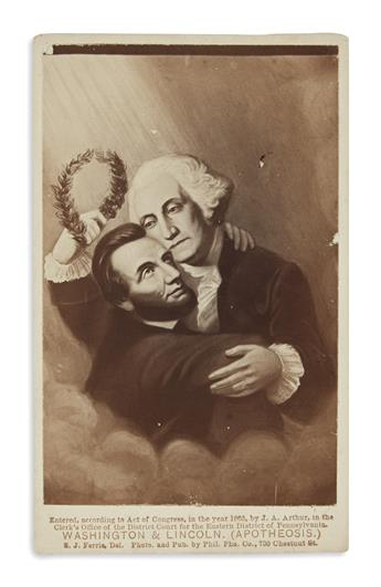 (PHOTOGRAPHY.) Group of 10 cartes-de-visites depicting Washington and Lincoln.