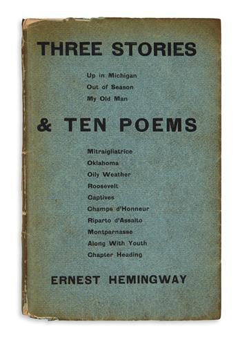 HEMINGWAY, ERNEST. Three Stories & Ten Poems.
