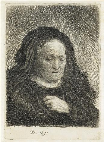 REMBRANDT VAN RIJN The Artists Mother with her Hand on her Chest: Small Bust.