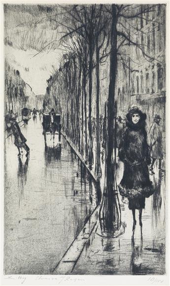 LESSER URY Spaziergänger im Regen.