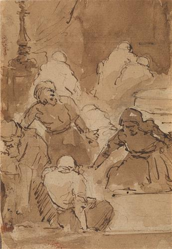 REMBRANDT VAN RIJN (FOLLOWER OF) (Leiden 1606-1669 Amsterdam) Christ Chasing the Money Lenders from the Temple.