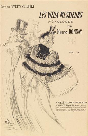 HENRI DE TOULOUSE-LAUTREC (1864-1901). LES VIEUX MESSIEURS / YVETTE GUILBERT. Sheet music cover. 1894. 10x6 inches, 26x17 cm.