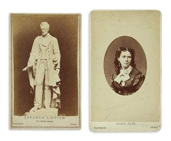 (PHOTOGRAPHY.) Group of 8 Lincoln-related cartes-de-visite: his artists, his sculptures, and related views.