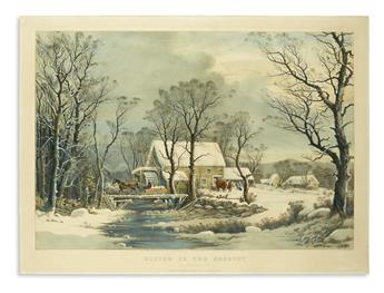 CURRIER & IVES. Winter in the Country. The Old Grist Mill.