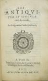 COUILLARD, ANTOINE.  1557  Les Antiquitez et Singularitez du Monde.