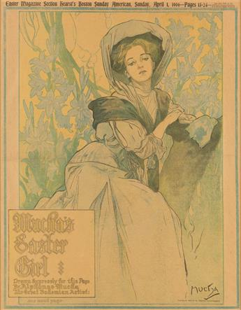ALPHONSE MUCHA (1860-1939). MUCHAS EASTER GIRL / HEARST BOSTON SUNDAY AMERICAN. April 1, 1906. 19x15 inches, 49x38 cm.