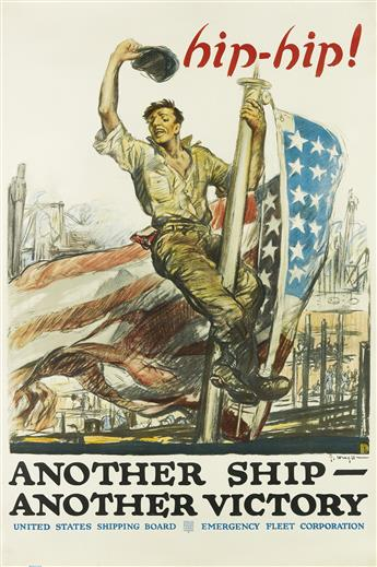 GEORGE HAND WRIGHT (1872-1951). HIP - HIP! / ANOTHER SHIP - ANOTHER VICTORY. 1918. 60x39 inches, 152x101 cm. Forbes, Boston.