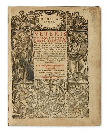 (BIBLE IN LATIN.)  Biblia sacra veteris et novi testamenti, secundum vulgatam versionem. Part 1 (of 3):  Old Testament.  1599