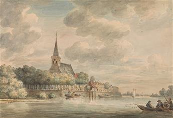 DIRK VERRIJK (Haarlem 1734-1786 The Hague) A River Scene with a View of Lekkerkerk.