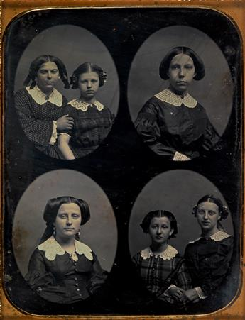 (MEDALLIONS) Pair of daguerreotypes with multiple images, comprising a half-plate daguerreotype depicting 6 young women (sisters?) and