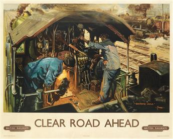 TERENCE CUNEO (1907-1996). CLEAR ROAD AHEAD / BRITISH RAILWAY. 1949. 40x50 inches, 101x127 cm. Waterlow & Sons Ltd., London.