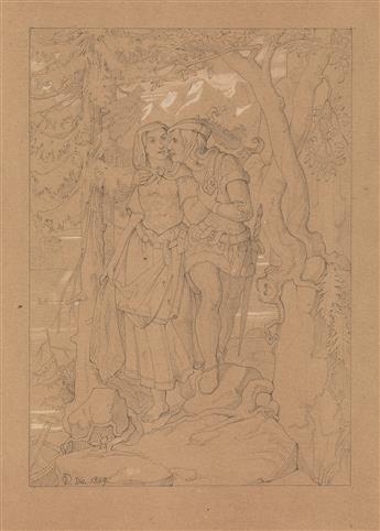 OTTO PHILIPP DONNER-VON RICHTER (Frankfurt 1828-1911 Frankfurt) A Medieval Couple in a Forest Landscape.
