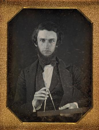 (OCCUPATIONALS) Pair of unusual occupational portraits, comprising a quarter-plate daguerreotype of a young engineer
