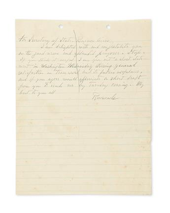 FRANKLIN D. ROOSEVELT. Autograph Letter Signed, Roosevelt, as President, to Cordell Hull (For Secretary of State, Bue...