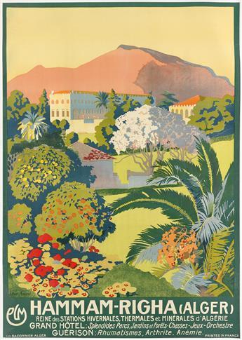 LÉON CARRÉ (1878-1942). HAMMAM - RIGHA (ALGER). Circa 1920s. 41x29 inches, 105x74 cm. Baconnier, Alger.