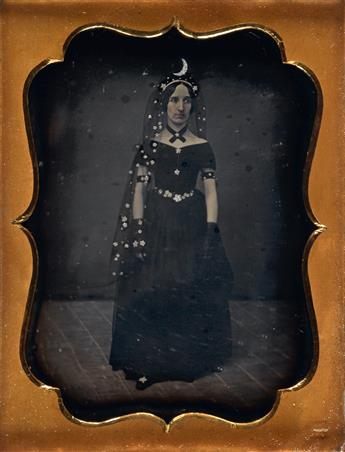 (THEATRICAL) Pair of quarter-plate daguerreotypes of performers, comprising a woman in a fanciful