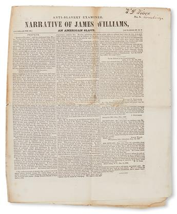 (SLAVERY AND ABOLITION--NARRATIVES.) The Anti-Slavery Examiner Extra Narrative of James Williams, an American Slave.