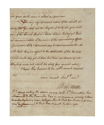 (AMERICAN REVOLUTION.) JEFFERSON, THOMAS. Letter Signed, Th:Jefferson, as Governor, with 4-line holograph postscript, to Major-Genera