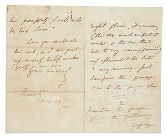 DISRAELI, BENJAMIN. Autograph Letter Signed, D., to Thomas John Ouseley (My dear Sir),