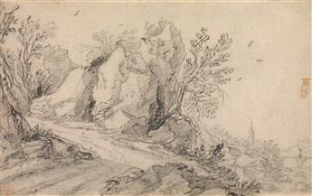 JAN WILDENS (ATTRIBUTED TO) (Antwerp 1586-1653 Antwerp) A Rocky Landscape with a Path along a Hill.