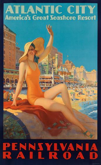 EDWARD M. EGGLESTON (1882-1941). ATLANTIC CITY / PENNSYLVANIA RAILROAD. Circa 1935. 40x25 inches, 102x63 cm. O. Co., Clifton, N.J.