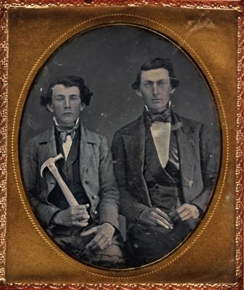 (OCCUPATIONALS) Pair of occupationals, comprising a sixth-plate daguerreotype depicting a carpenter