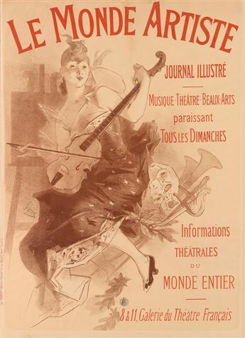 JULES CHÉRET (1836-1932). LE MONDE ARTISTE. 1892. 45x32 inches, 114x82 cm. Chaix, Paris.
