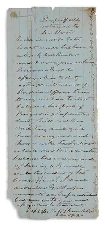 INCLUDES ENDORSEMENT BY PRESIDENT JEFFERSON DAVIS (CIVIL WAR.) GEORGE WYTHE RANDOLPH. Autograph Note Signed,...