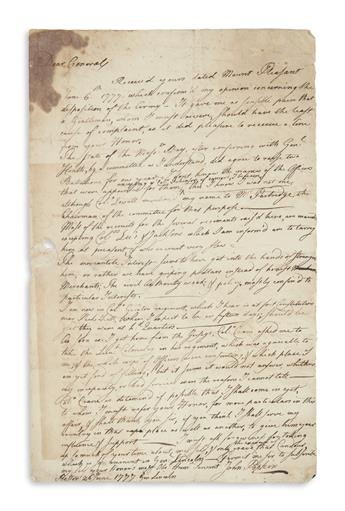 POPKIN, JOHN. Autograph Letter Signed, as Major of the 3rd MA Regiment, to Major General Benjamin Lincoln,