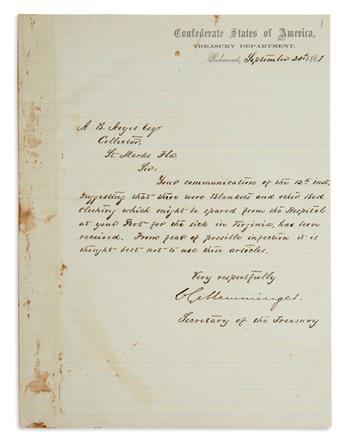 (CIVIL WAR.) CHRISTOPHER GUSTAVUS MEMMINGER. Letter Signed, CGMemminger, as Secretary of the Treasury, to Collector Al...