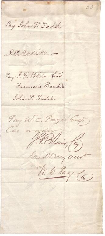 MADISON, DOROTHY PAYNE TODD (DOLLEY). Signature, DPMadison, endorsing a bill of exchange from William C. Preston in the amount of $