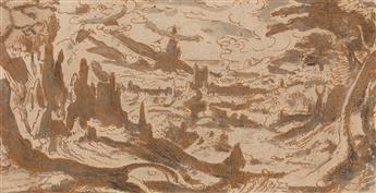LODEWIJK TOEPUT, IL POZZOSERRATO (ATTRIBUTED TO) (Atwerp 1550-1605 Treviso) A Mountainous Italianate Landscape.