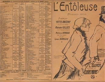 DAPRÈS HENRI DE TOULOUSE-LAUTREC (1864-1901). LENTÔLEUSE. Sheet music, front and back cover. 1918. 10x13 inches, 26x33 cm. Cavel, Par
