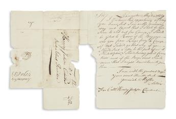 MOSHER, JEREMIAH. Autograph Letter Signed, Jeremiah Mosher / a Soldier, to his commander Colonel Henry Jackson,