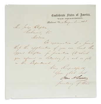 (CIVIL WAR.) JAMES ALEXANDER SEDDON. Brief Letter Signed, James ASeddon, as Secretary of War, to Mrs. Judge Clopton,...